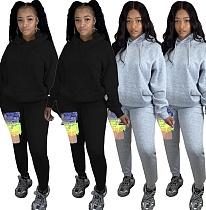 Women Solid Color Drawstring Hoodie Graffiti Sweatpants Tracksuit MDF-5196