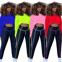 Women Long Sleeve Round Neck T-shirt Skinny Pant Sport Suit TE-4167