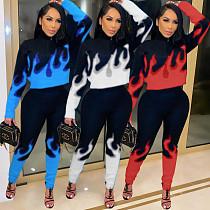 Womens Printed Long Sleeve Tops Bodycon Pants Sport Suit TK-6148