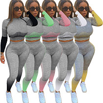 Fitness Leggings+Long Sleeve Cropped Shirts Sport Suit WZ-8356