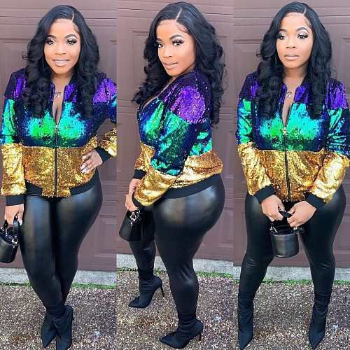Women's Casual Collage Sequined Long Sleeve Zipper Jacket TR-1100
