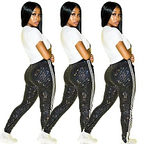 Hot Spot Wholesale Side Stripe Skinny Sequin Pants PN-6552