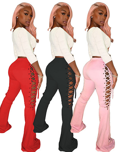 Women Fashion Solid Color High Waist Flare Leggings ML-7415