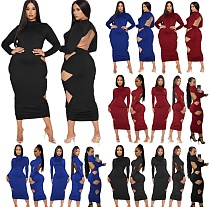 Plus Size Long-sleeved Hollowed-out Backless Bodycon Dress SHE-7245