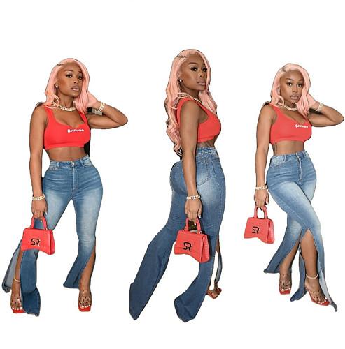 Women Vintage Side Split Mid-waist Long Flare Jeans LA-3247