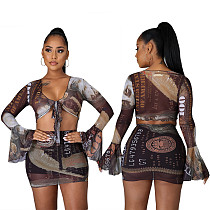 US Money Print Long Sleeve Tie Up Crop Top Mini Skirt Set CY-2397