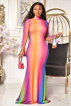 Fashion Rainbow Gradient Flared Sleeve Fishtail Dress SQ-935