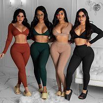 Women Threaded Long Sleeve Crop Top Leggings Fitness Set JUI-1218