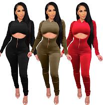 Women's Solid Color Hooded Crop Top+Halter Jumpsuit Set WSM-5220