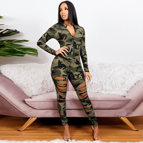 Camouflage Printed Long Sleeve Skinny Ripped Jumpsuits OSS-21032