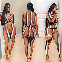 Fashion Stripe Print Long Sleeve Blouse Skinny Pants Outfit SHE-7915