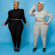 Women Plus Size Solid Color Crop Top Pants Two-piece Outfit HZM-7138