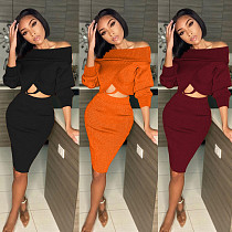 Solid Color Off Shoulder Bat Sleeve Crop Top Midi Skirt Suit MAE-2075