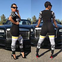 Fashion Printed Short Sleeves T-shirt Leggings 2 Piece Outfit TE-4179