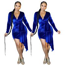 Deep V Neck Long Sleeve Velvet High Waist Irregular Dress PN-6651