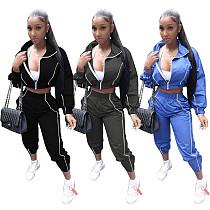Spliced Long Sleeve Zipper Crop Top Sweatpants 2 Piece Set WZ-8357