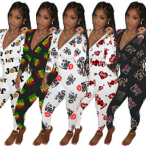 Sexy Deep V-neck Print Long Sleeve Sleepwear Jumpsuit WY-6742