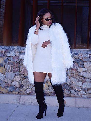 Winter Women Faux Fur Long Sleeve Loose-fitting Coat  ZS-0324