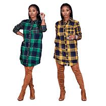 Autumn Women Long Sleeve Grid Printed Button Shirt Dress DY-6638