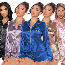Winter Long Sleeve Button-up Top Shorts Loose Nightwear Suit ME-757