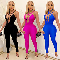Sexy Solid Sleeveless Deep V Neck Mid-waist Sling Jumpsuit BY-3879