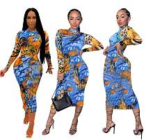 Hot Style Tie-dye Coloured Pattern Long Sleeve Bodycon Dress DD-8070