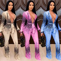 Sexy Deep V Print Long Sleeve Back Hollowed-out Jumpsuit with belt BY-3896