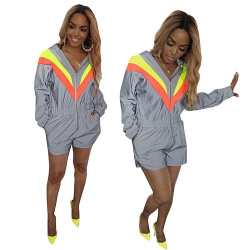 Women's Long Sleeve Zipper Hooded Elasticated Waist Romper MEM-8207