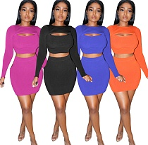 Hollowed-out Long Sleeve Slim T-shirt Mini Skirt Two Piece Set ZS-0374