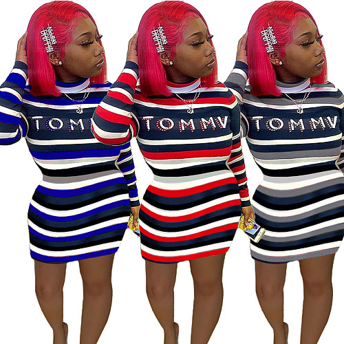 Striped Printed Letters Splicing Long-sleeved Skinny Midi Dress LUO-6394