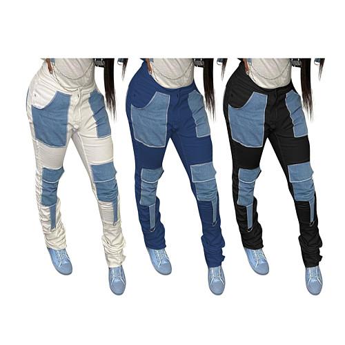 Vintage Spliced Slin Fitness High Waist Casual Denim Pants NIK-200