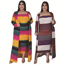 Plus-size Stripe Printed Long Top+Strapless Dress Two Pieces XQY-1416