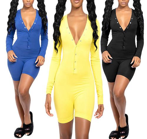 Solid Color Onesie Women Pajamas Short Bodycon Bodysuit YMT-6192
