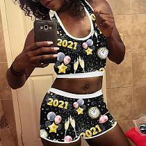 2021 New Year Print Vest Shorts Home Wear 2 Piece Set SHD-9476