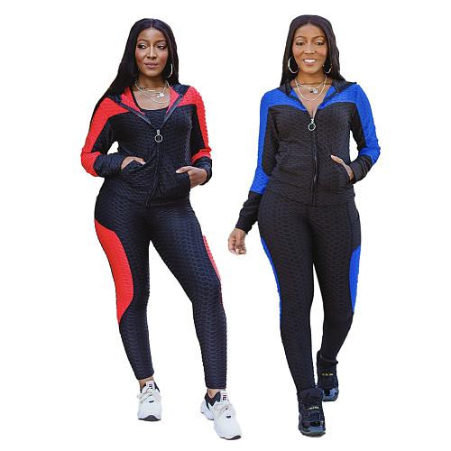 Women Running Jacket Hooded Long Pants Two Piece Set SMR-9948