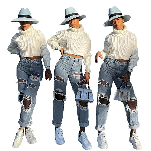 Casual Trendy Women's Clothing Loose Mid Waist Denim Jeans LX-5502