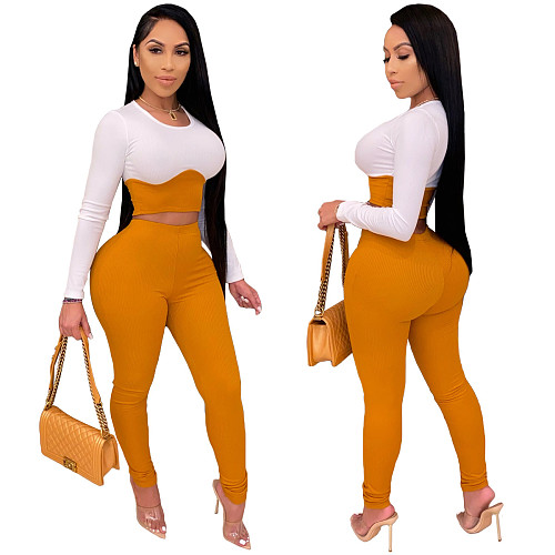 Fashion Stitching Long Sleeve Crop Top Skinny Pants 2 Pieces YS-8755