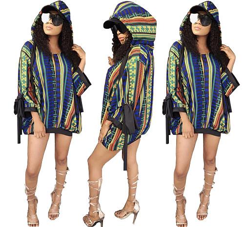 Women's Print Bandage Long Sleeve Loose-fitting Hooded Dress LA-3250