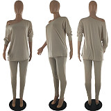 Women Solid Long Sleeve Loose T-shirt Leggings Two Piece Outfits SQ-6238