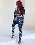 Sexy Print Long Sleeve Hollow Out Crop Top Leggings Two Pieces LA-3004