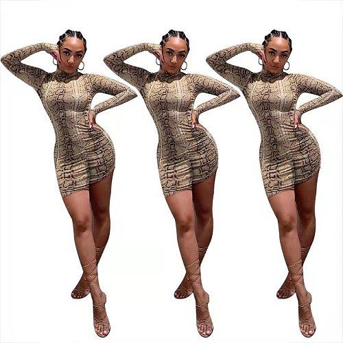 Serpentine Print Long Sleeve O Neck Women Bodycon Romper FST-7162