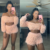 Plush Off Shoulder Long Sleeve Crop Top Shorts Two Piece Set MS-1377