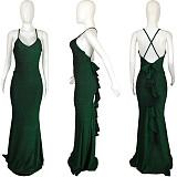 Sexy Spaghetti Strap Floor-length Deep V Neck Fishtail Dress QIY-5039