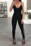 Women Skinny Bandage Lace Up High Waist Halter Jumpsuit LX-1373