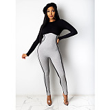 Winter Stitching Long Sleeves Back Zipper Skinny Jumpsuit DY-6633