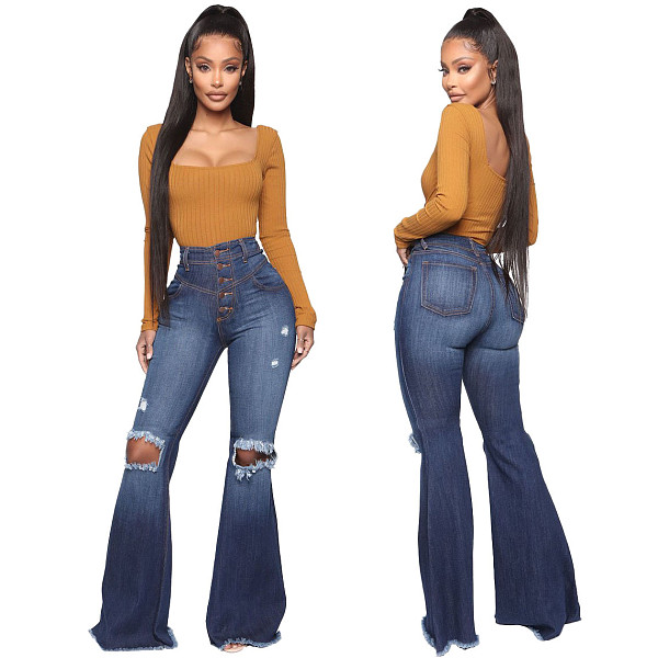 Casual Washed High Waist Ripped Hole Straight Flare Jeans HSF-2392