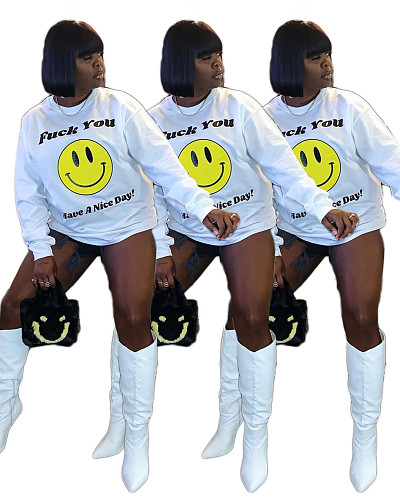 Trendy Smiley Letter Prints Long Sleeve Loose Fitting T-shirt DAI-8320