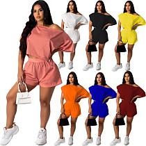 Women Solid Short Sleeve Loose Tops Shorts Two Piece Set LUO-6395