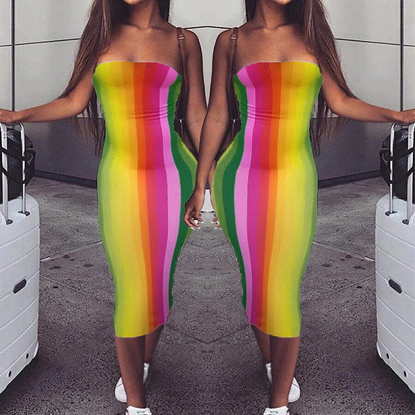 Rainbow Strip Print High-stretch Skinny Strapless Dress RUM-8178