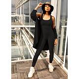 Women Solid Color Long Cardigan Vest Long Pants 3 Piece Set GLS-8050